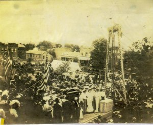 Laying the cornerstone for the new county courthouse was a big day of celebration. This photo was taken from the north side of the square in 1904.